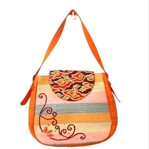 Woven leather handmade straw rattan bag Orange
